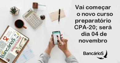 Vai começar o novo curso preparatório CPA-20; será dia 04 de novembro